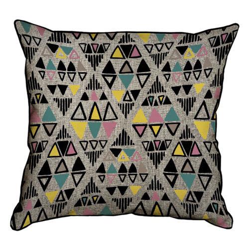 Подушка интерьерная из мешковины Разноцветные треугольники 45x45 см (45PHB_TFL015_BL)