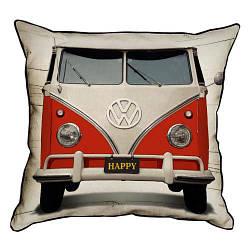 Подушка інтер'єрна з мішковини Красный Volkswagen хиппимобиль 45x45 см (45PHB_VOL001_WH)