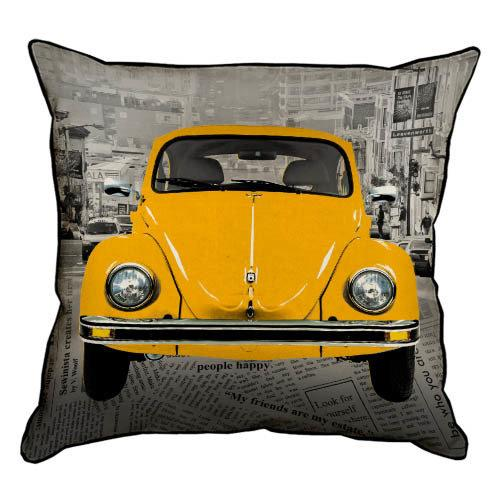 Подушка интерьерная из мешковины Желтый Фольксваген Жук 45x45 см (45PHB_VOL042_SE)