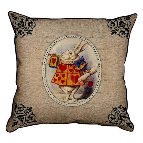 Подушка интерьерная из мешковины Белый кролик 45x45 см (45PHB_WON005_BR)