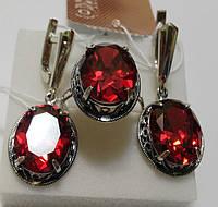 Комплект серебряный Империя с красным камнем, фото 1