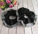 Объемные резинки для волос бархат с напылением d 10 см 12 шт/уп, фото 3