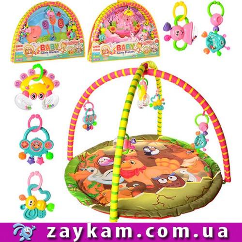 Коврик для младенца (2 дуги, подвески-погремушки 5 шт) 325-66-68-69 в сумке, 82-58-6 см
