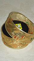 Лента декоративная новогодняя золотистая 5 см с узором\проволочный край