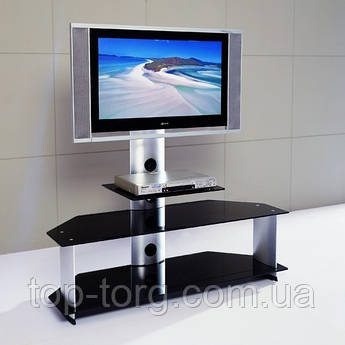 Тумба стійка під TV (ТБ, телевізор) скло, чорна V220-2