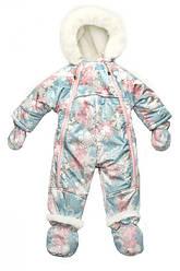 Детский зимний комбинезон-трансформер на овчинедля девочки  ' Снежинка', Модный карапуз
