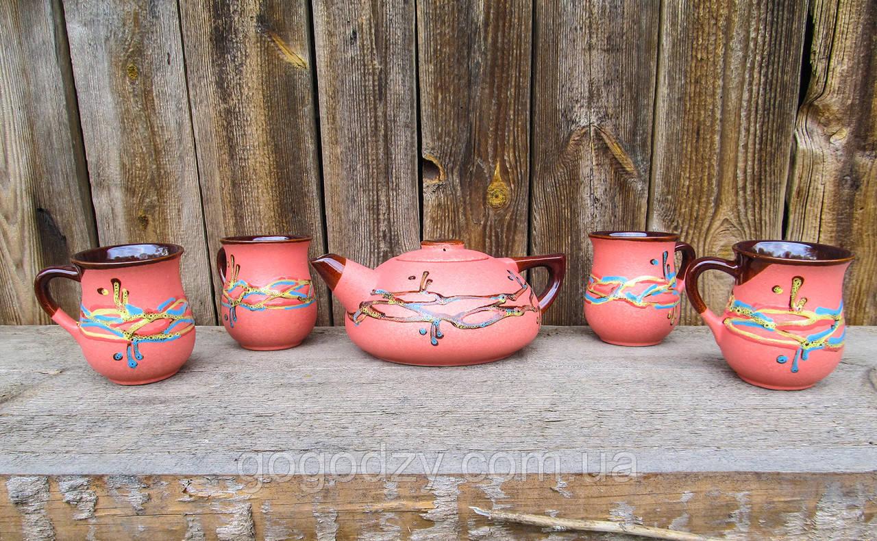"""Чайний набір великий на 4 особи, декор """"Крайка"""" червоний"""