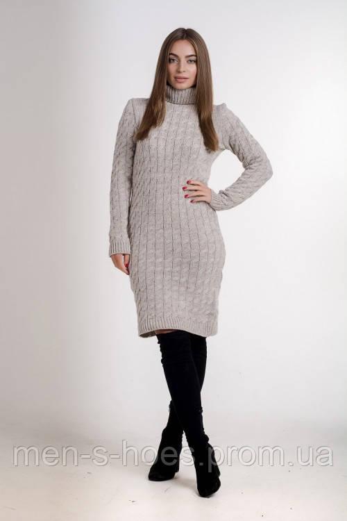 Платье женское с горловиной  однотонное теплое бежевое.