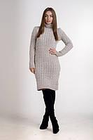 Платье женское с горловиной  однотонное теплое бежевое. , фото 1