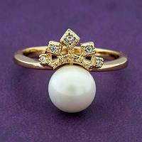 Кольцо женское позолота ХР. Медицинское золото. Размер - 19