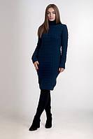 Женское  утепленное однотонное темно-синее  платье с горловиной., фото 1