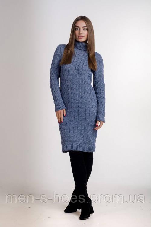 Повседневное женское с горловиной облегающее  однотонное  платье цвета джинс.