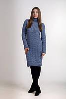 Повседневное женское с горловиной облегающее  однотонное  платье цвета джинс., фото 1