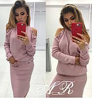 Женский модный костюм свитер+юбка с жемчугом Фабричный Китай качество люкс розовый