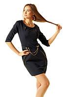 Стильное черное платье с декором из молний