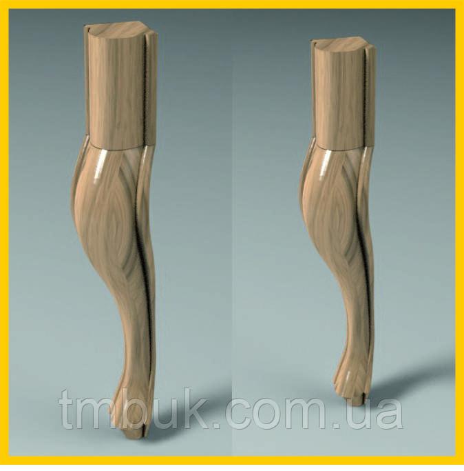 Ножка стула, банкетки, журнального столика. Форма кабриоль, под покраску, деревянная резная. 450 мм.