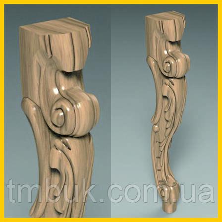 Ножка для стола, консоли, журнального столика деревянная резная. Кабриоль.  500 мм., фото 2
