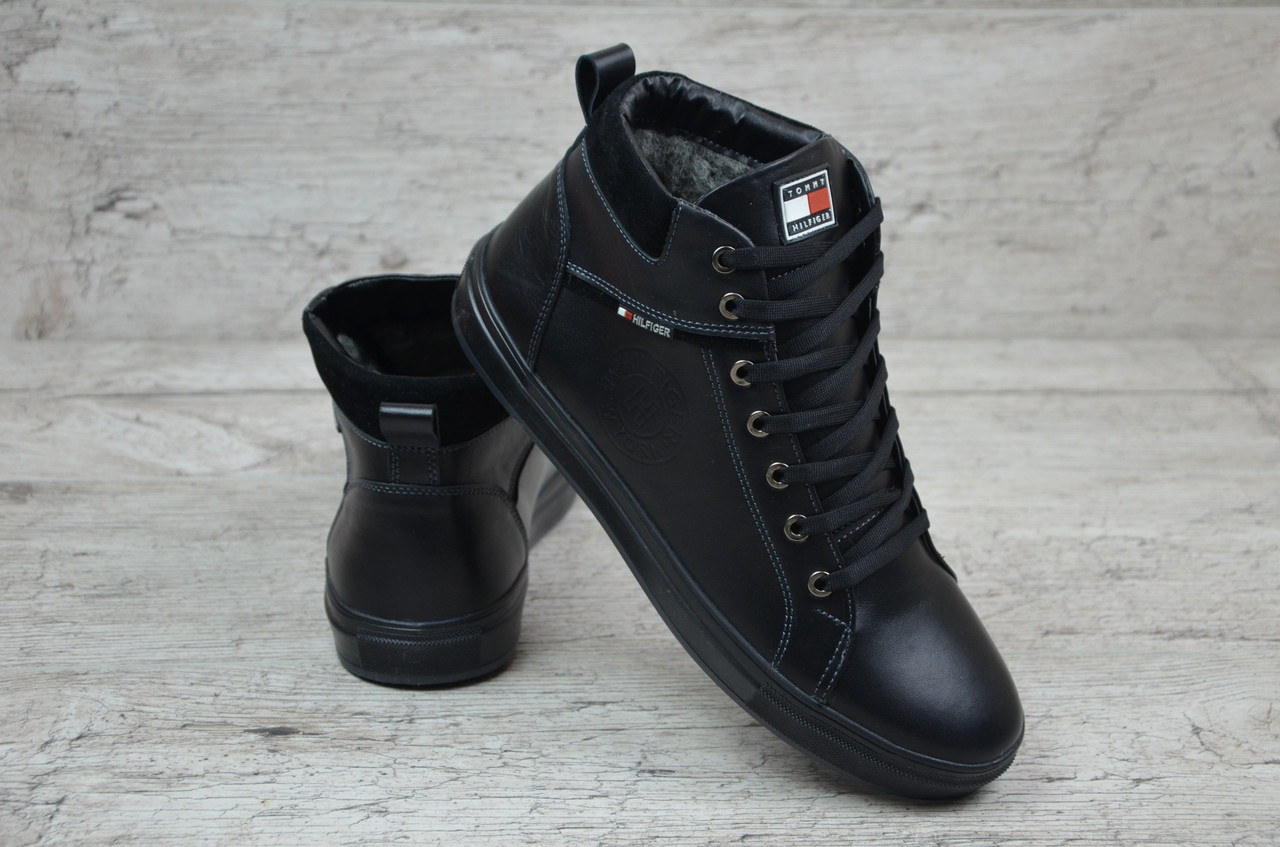 Мужские зимние ботинки Tommy Hilfiger черные (Реплика ААА+) - купить ... 181e2a1afe701