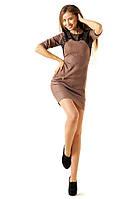 Платье цвета капучино с гипюровым декором и молниями