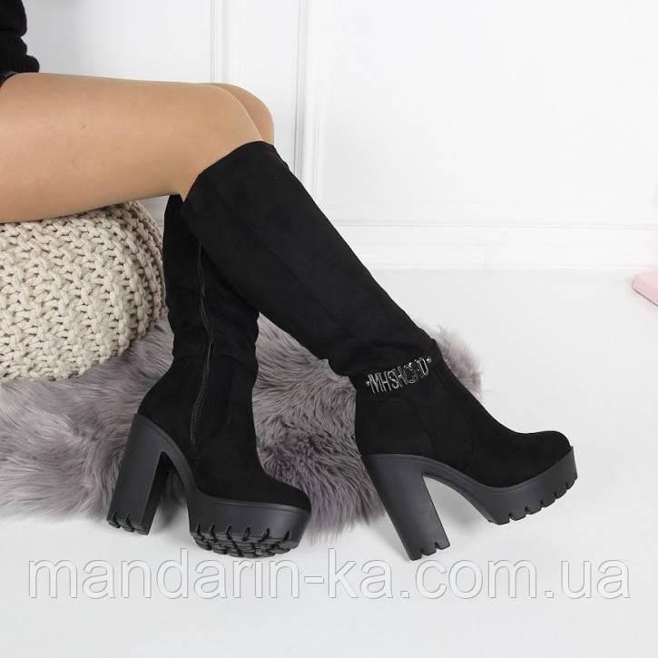 Женские зимние  сапоги черные