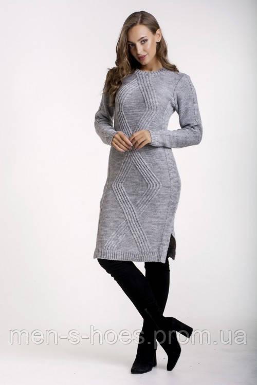 Платье женскоес горловиной  однотонное теплое серое.