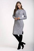 Платье женскоес горловиной  однотонное теплое серое. , фото 1