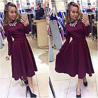 Бордовое платье вечернее трикотажное