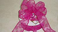 Декоративная лента 4 см тм розовая\проволочный край, фото 1