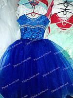Детское нарядное платье бальное Бэль (синее) Возраст 6-7 лет.