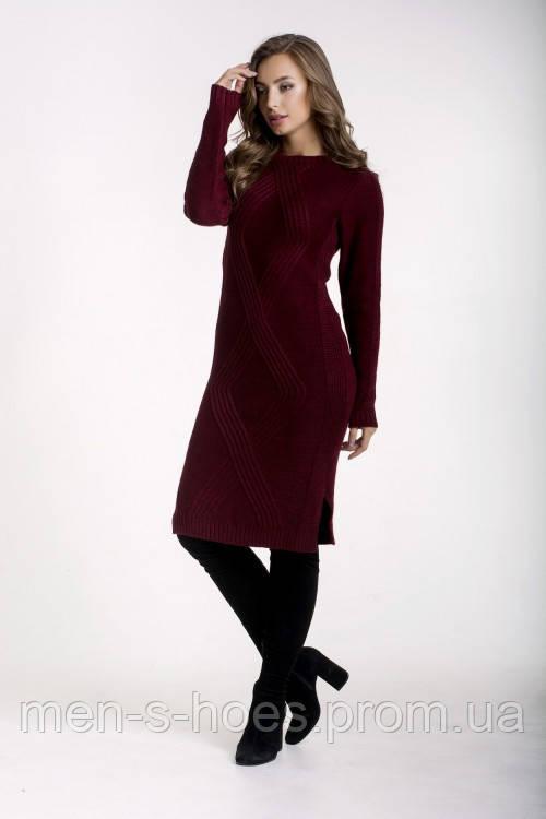 Женское платье утепленное облегающее однотонное бордовое.