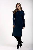 Женское  утепленное облегающее однотонное темно-синее  платье на каждый день., фото 1