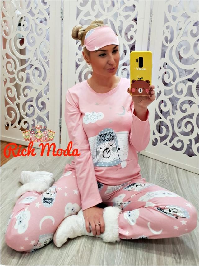 b0b59216af7b6 Пижама женская тёплая на байке (с начесом) — купить недорого в ...