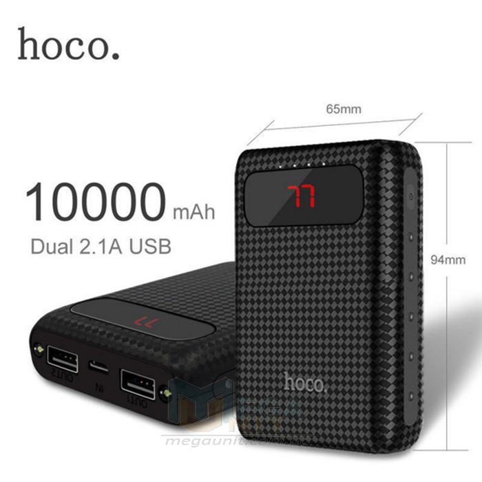 Внешний аккумулятор (Power Bank) Hoco Mige 10000mAh, 2xUSB, фонарик, цифровой индикатор