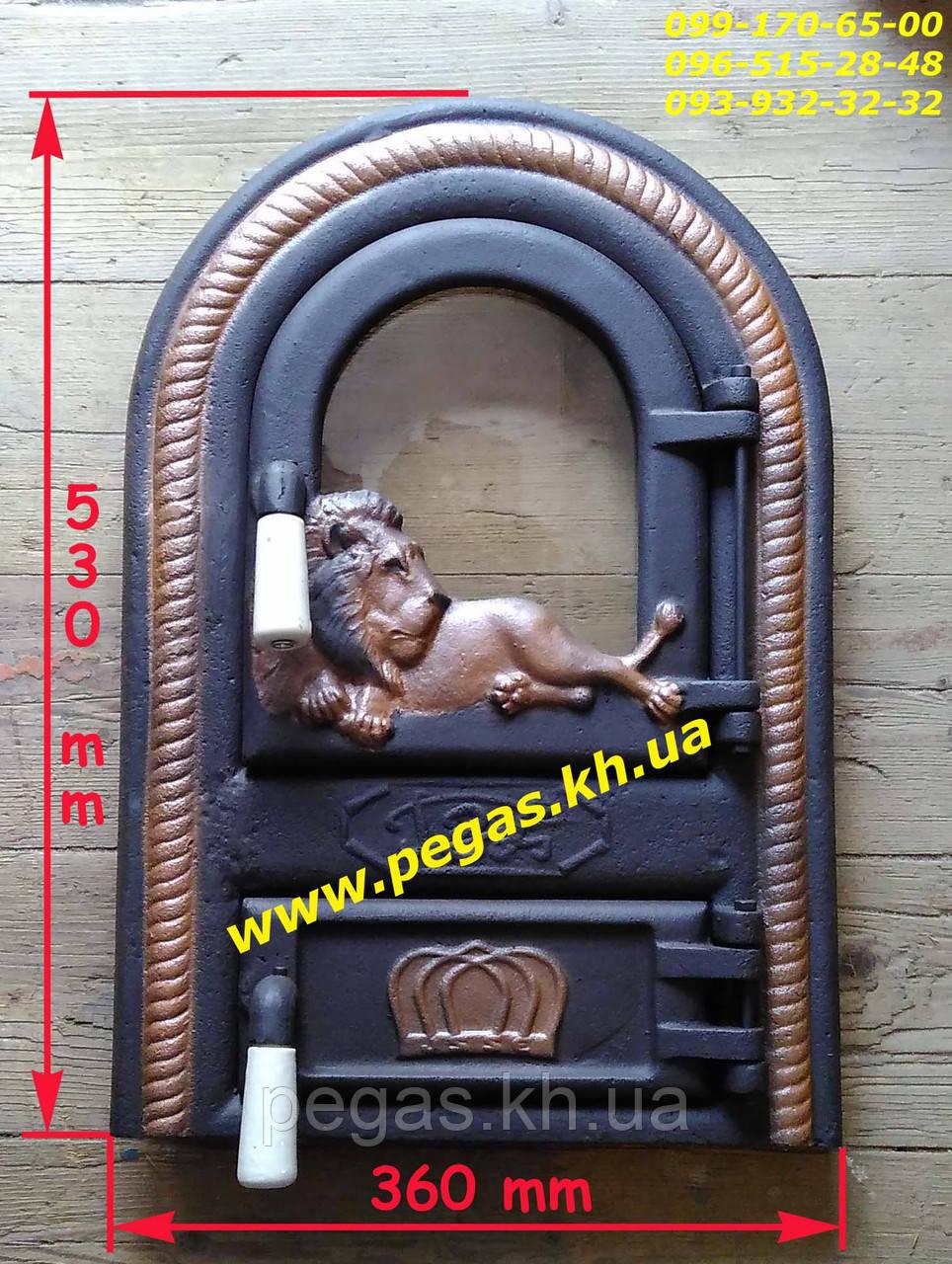 Дверка чугунная со стеклом Румынская №12