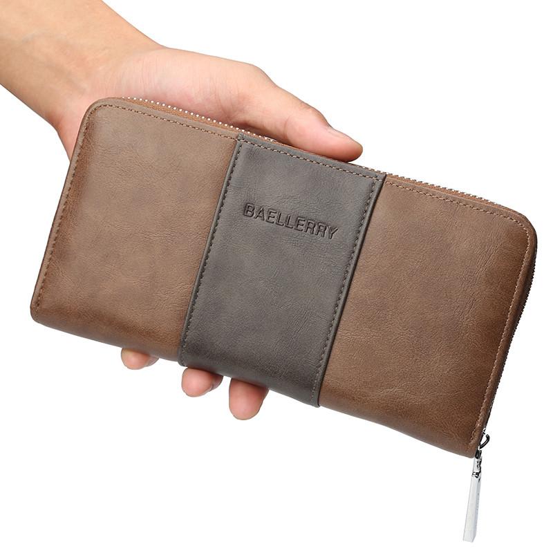 Мужской кошелек, портмоне Baellerry защита от RFID эко-кожа коричневый