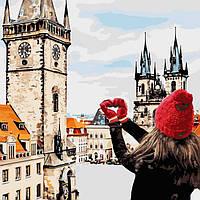"""Картина по номерам. Городской пейзаж """"С любовью в сердце """" 40х40 см"""