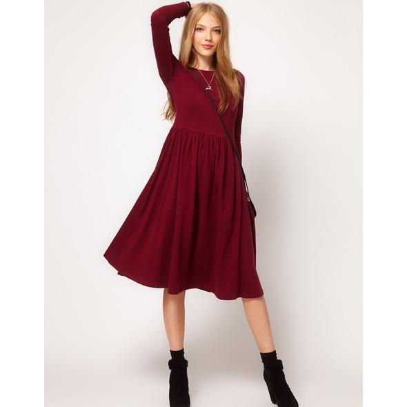 Женское платье трикотаж с юбкой солнце расклешенной длинный рукав размеры 40 42 44 46