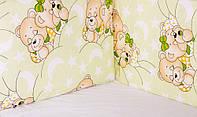 Защита в кроватку, бортики, защита- салатовая (мишки спят)