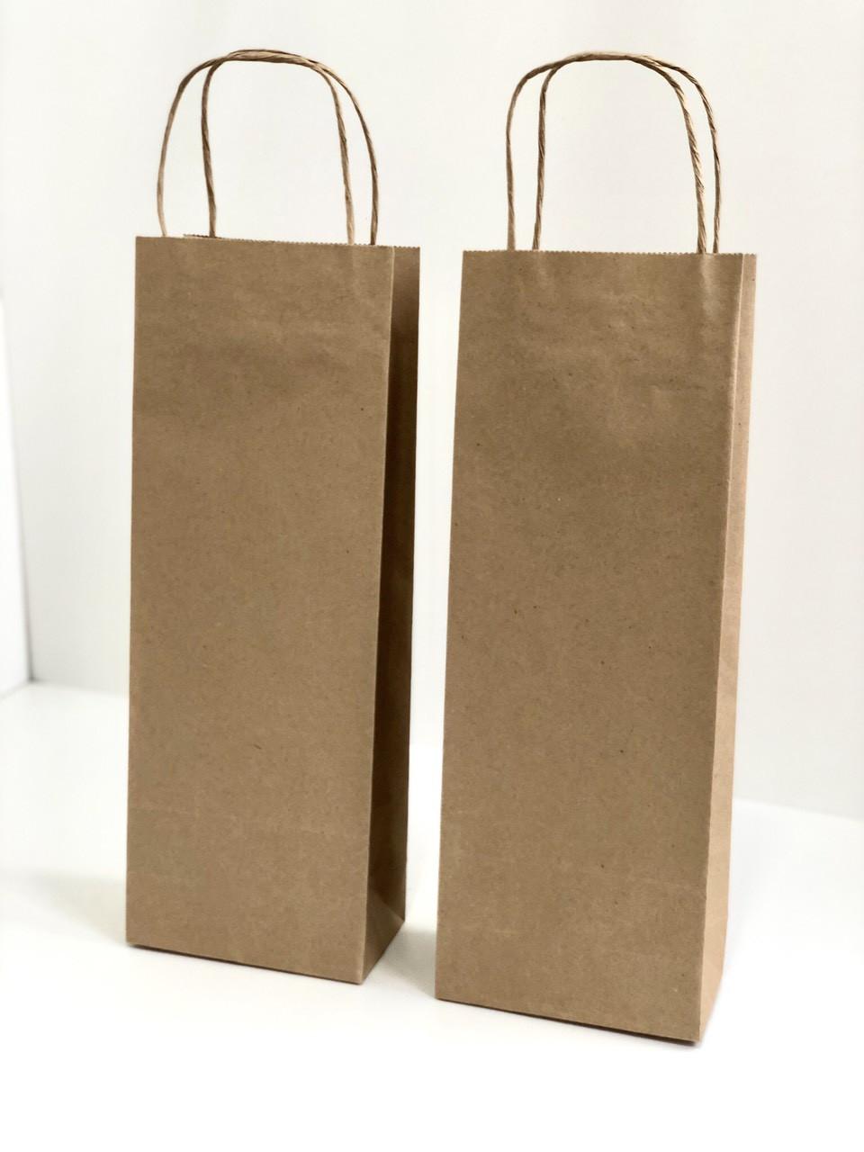 Подарочный крафтовый пакет для бутылок, 370х135х80