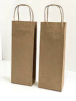 Подарочный крафтовый пакет для бутылок, 370х135х80, фото 1