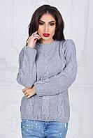 Женский свитер теплый с вязаными косами, фото 1