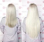 Славянские волосы на капсулах 60 см. Цвет #Холодный блонд, фото 7