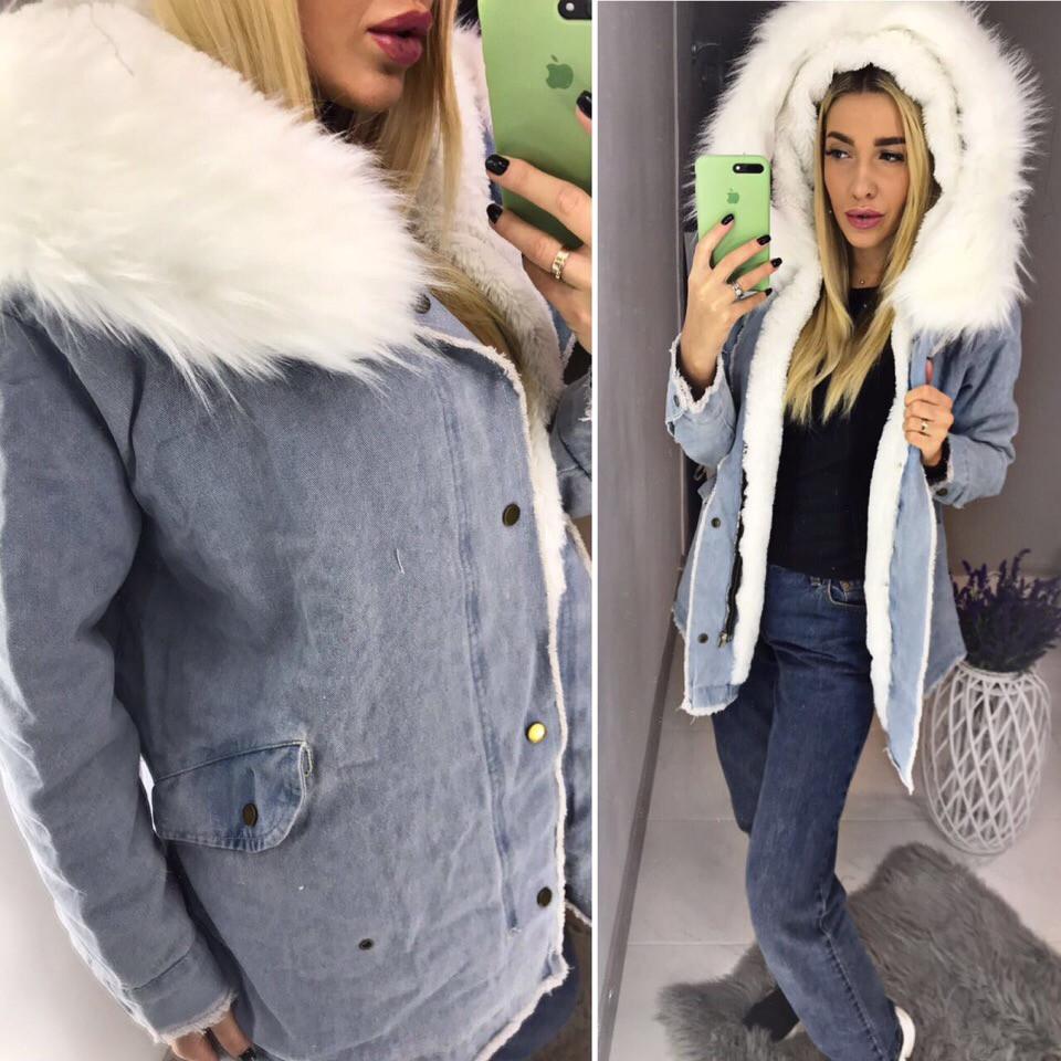 4aa4caba Теплая длинная джинсовая куртка с мехом внутри -производство Китай -