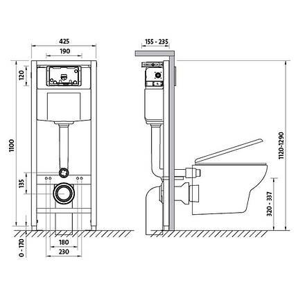 Комплект инсталляцииCersanit Hi-tech и подвесного унитаза Arteco с сиденьем дюропласт плавное оп., фото 2