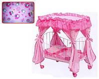 Игрушечная Кроватка для куклы на колесиках 9350 / 015 железная (60х29х56 см)
