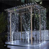 Штора уличная, занавес  2х2м 240 led, прозрачный провод, цвет белый холодный - декоративная гирлянда