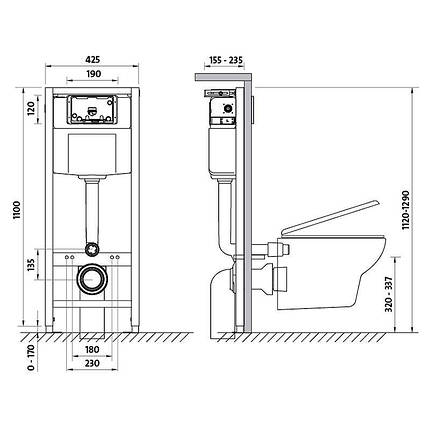 Комплект инсталляции Cersanit Target и подвесного унитаза Delfi с сиденьем полипропилен плавное оп., фото 2