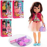 Кукла 89005-06 (36шт) 32см, 4 вида (2в-платье,расч,зерк,2в-сумочка,зак,плойка), в кор-ке,22-36-8,5см