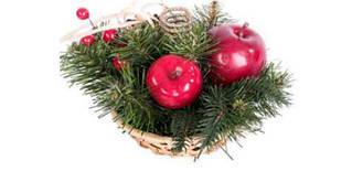 Новогодний подсвечник декорированный яблоками