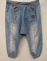 Джинсы для девочек 86,104,110 роста летние Пуговицы-матня